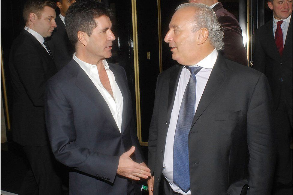 Music mogul Simon Cowell with Sir Philip in 2010