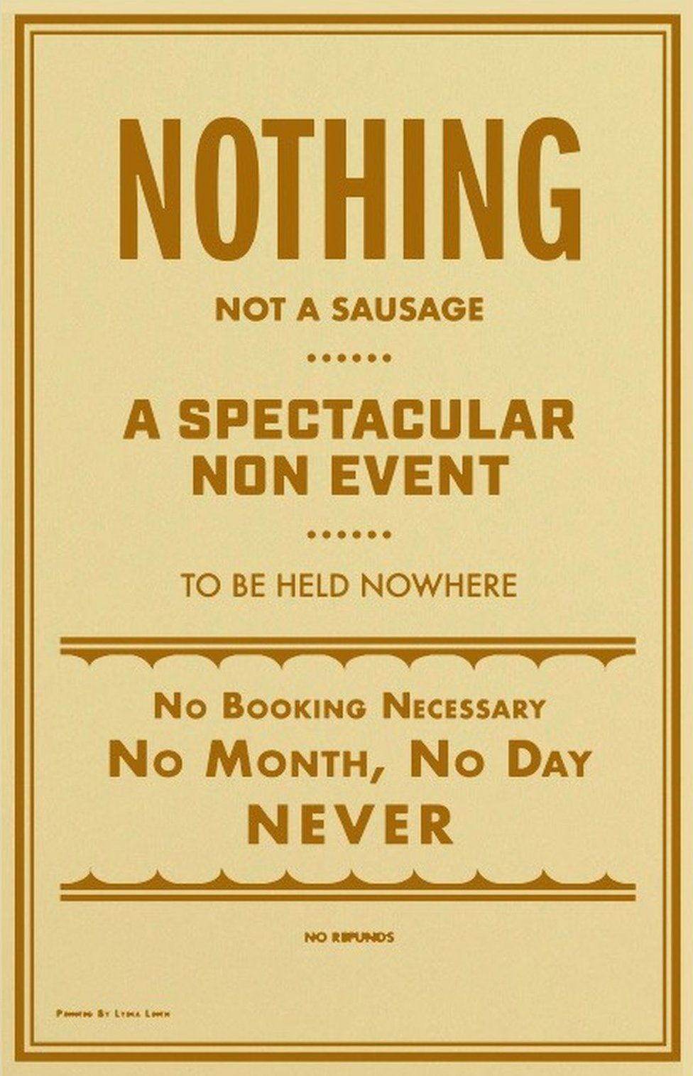 """Covid-themed """"Nothing, non-event"""" poster by Lydia Leith"""