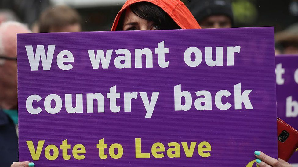 """A pro-Brexit campaigner holds a sign saying """"We want our country back"""""""