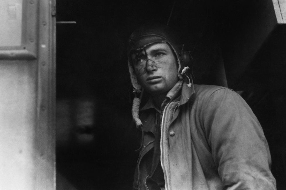 Staff Sergeant Jason Smart of the 350th Bomb Group, immediately after a mission, August 1943