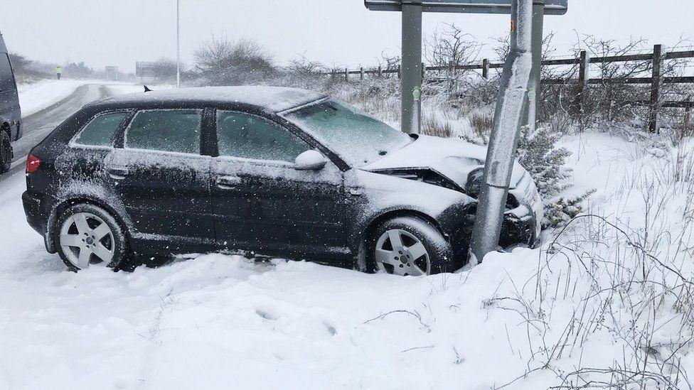 Crashed car on A30 slip road near Okehampton on 18 March 2018
