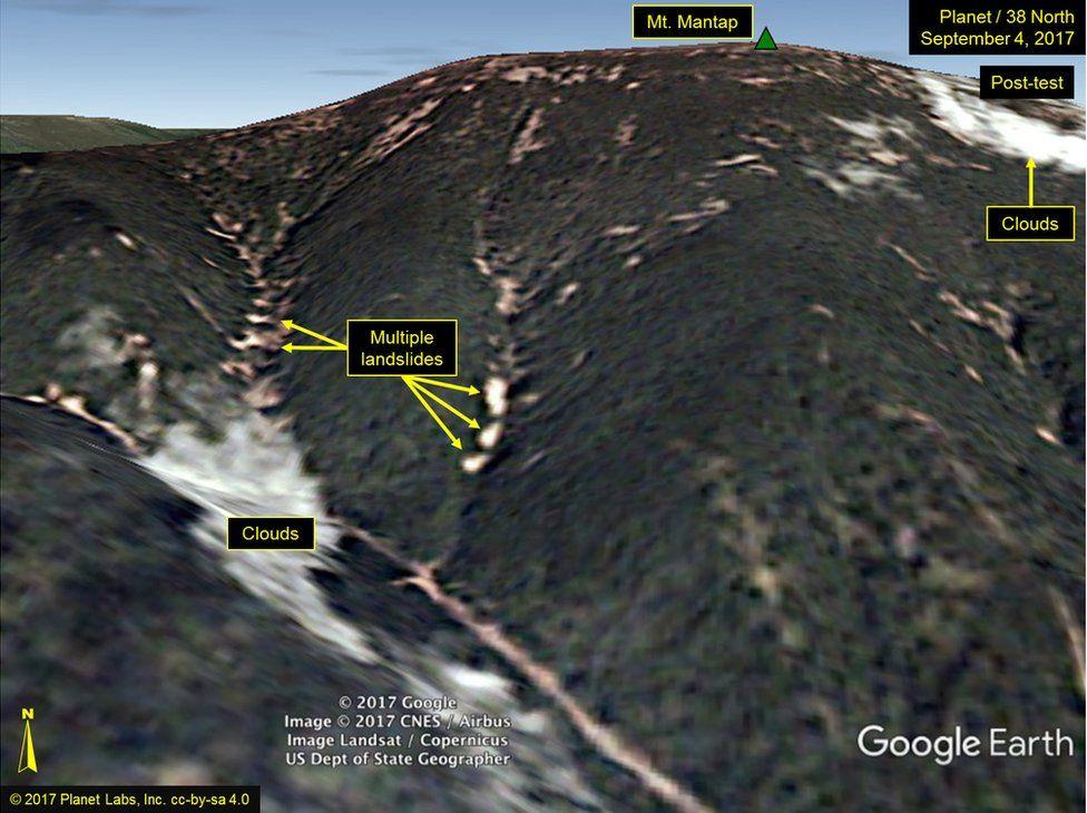 Picture of landslides at Punggye-ri
