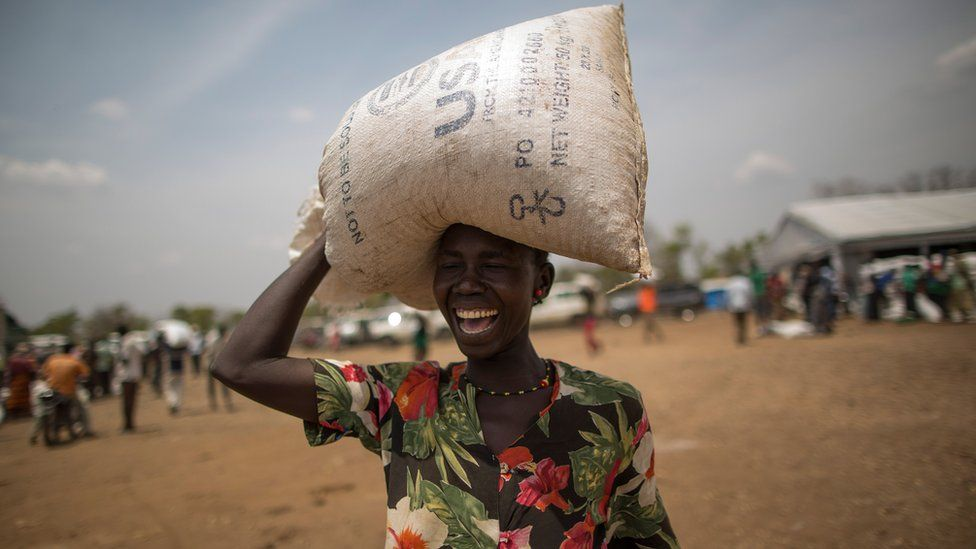 Food is distributed by WFP, 'World Food Programme' at the Bidi Bidi refugee camp on February 22, 2017 in Arua, Uganda.