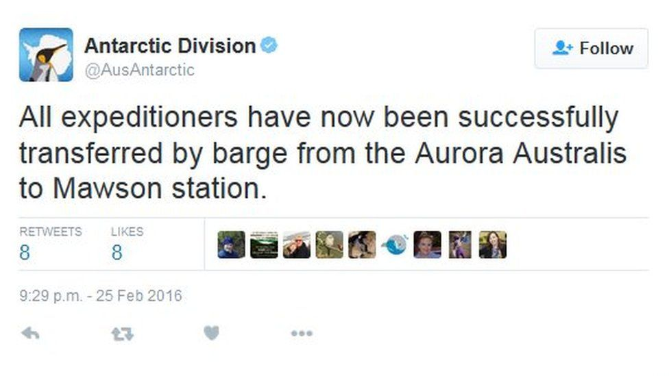 """Tweet by the Australia Antarctic Division saying""""All expeditioners have now been successfully transferred by barge from the Aurora Australis to Mawson station."""""""