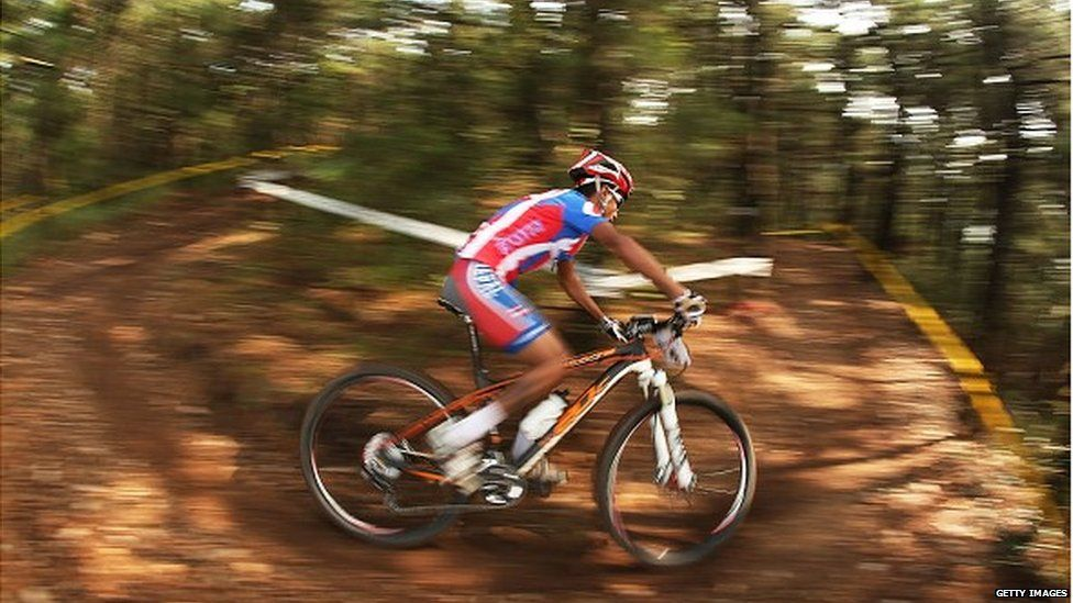 Ajay Pandit Chhetri of Nepal rides in the Men's Cross-country Final during day eleven of the 2014 Asian Games at Yeongjong Baegunsan MTB Course on September 30, 2014 in Incheon, South Korea