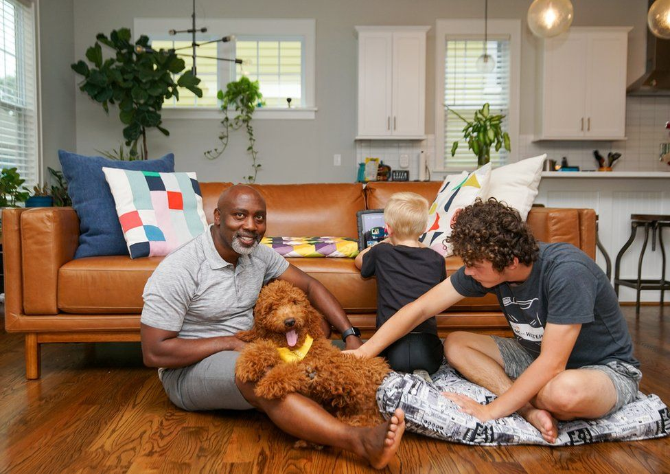 Peter, Anthony, Johnny and their dog