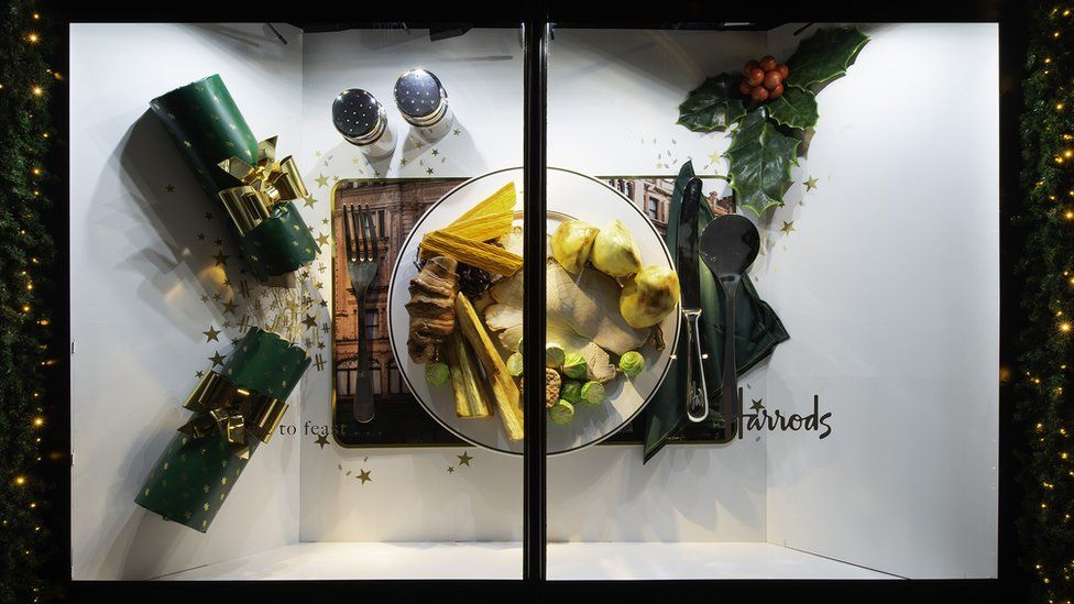 "Harrods ""feasting"" themed Christmas display"