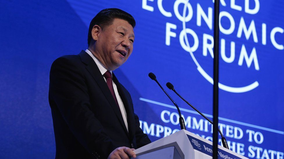 Xi Jinping, China's president, speaks during the opening plenary session of the World Economic Forum
