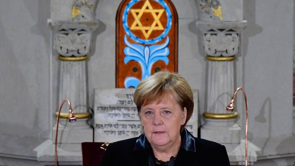 German Chancellor Angela Merkel speaks during a ceremony at the Synagogue Rykestrasse in Berlin on November 9, 2018