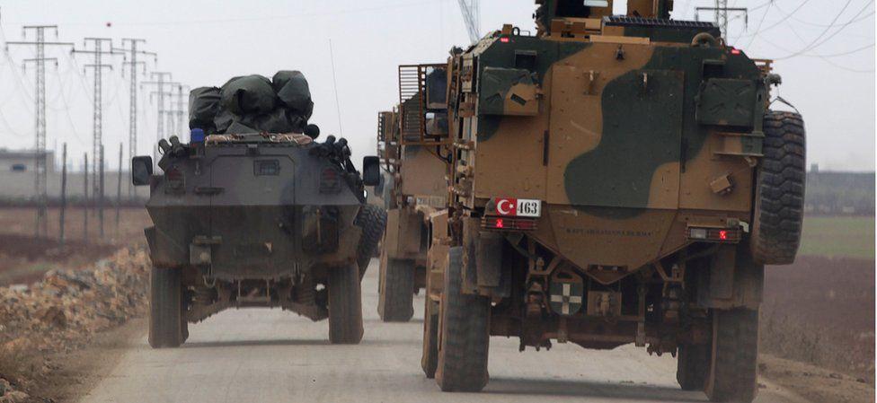 Turkish military vehicles head to al-Bab