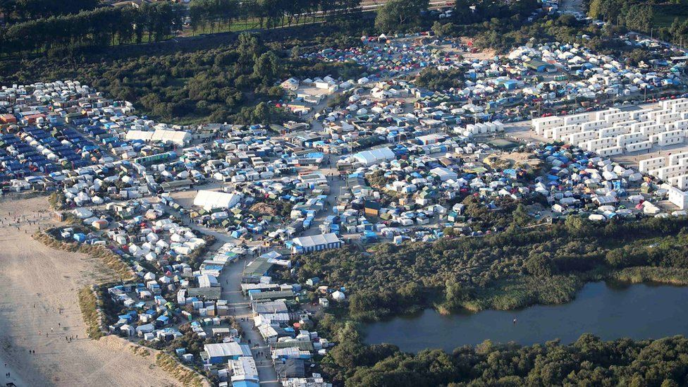 An aerial view of the 'Jungle' camp in Calais