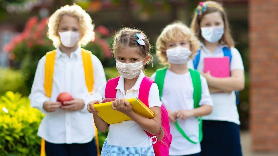 School children in face masks