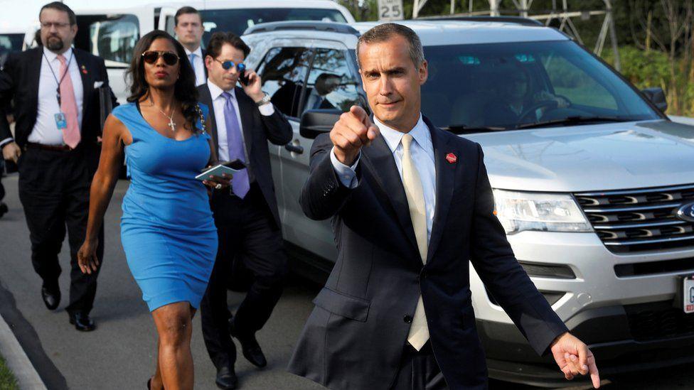 In order of White House aides - Sebastian Gorka, Omarosa Manigault Newman, Anthony Scaramucci, Corey Lewandowski and Rob Porter