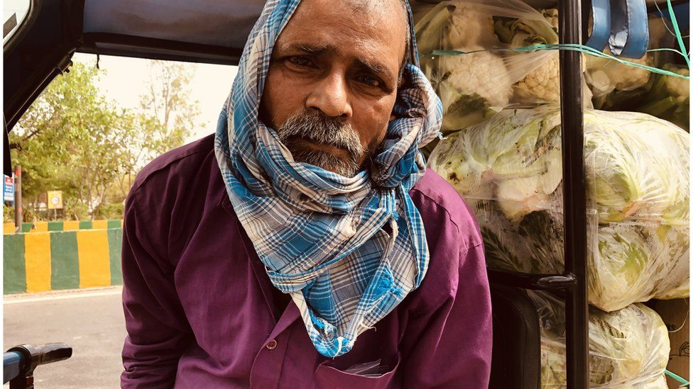 Ramprasad Shah sells vegetables in Noida
