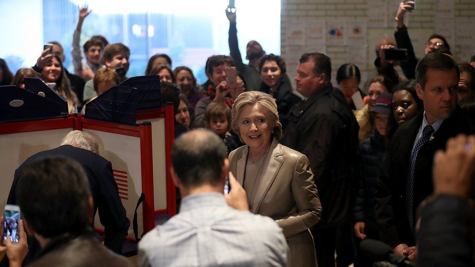Hillary Clinton casts her vote on election day