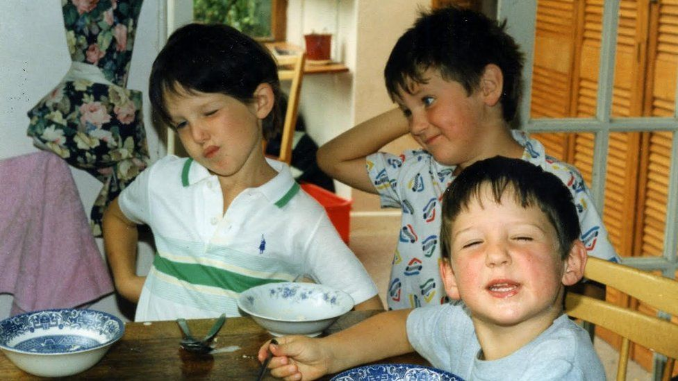 A young Jonathan Spollen with friends