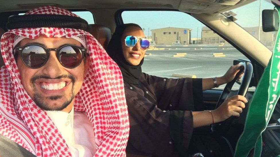 Faisal BaDughaish‏ and wife driving in a carpark