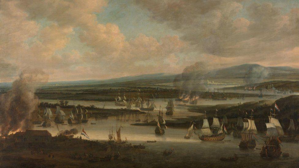 Burning of the English Fleet near Chatham (19-24 June 1667), Willem Schellinks, 1667 - 1678