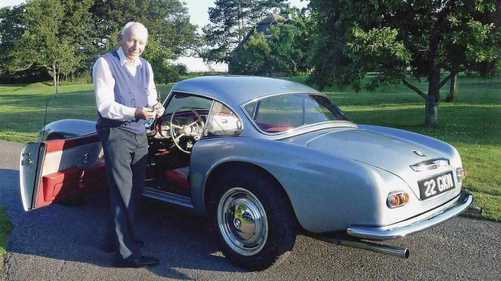 John Surtees with his 1957 BMW 507 Roadster