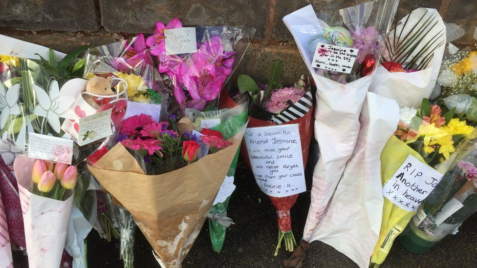 Flowers left outside the house in Kent Road