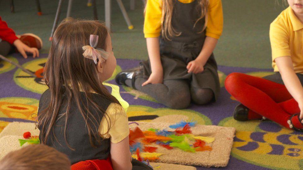 Schoolchildren sitting on a carpet