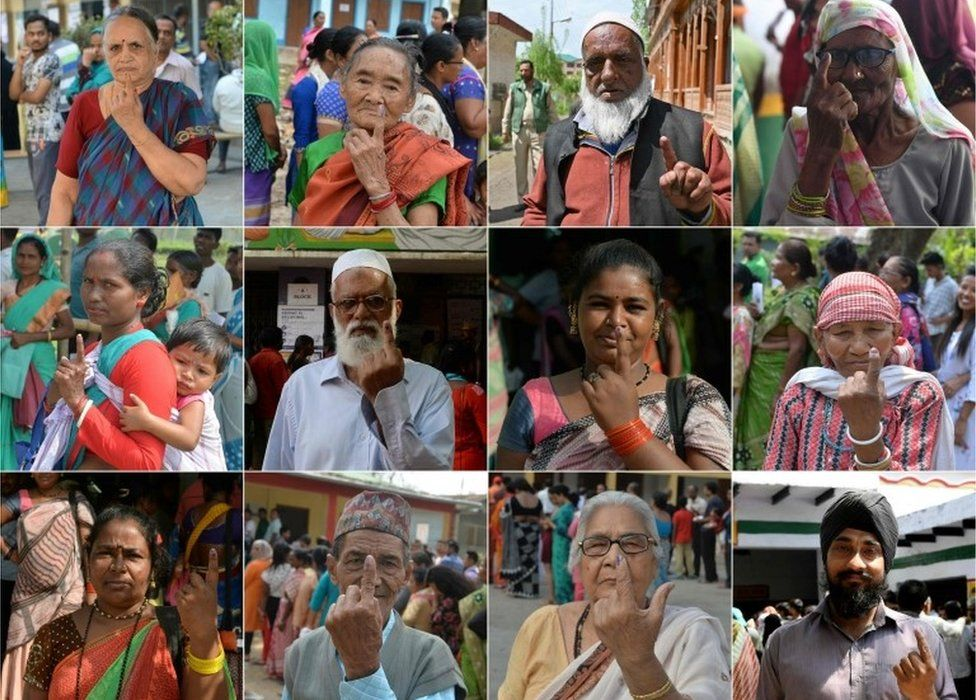 This combination of pictures taken and created on April 18, 2019 shows Indian voters showing their ink-marked fingers after casting their vote during the second phase of the mammoth Indian elections at various polling stations across India. -