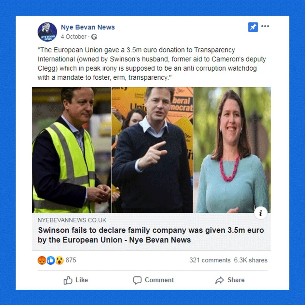 """Post from """"Nye Bevan News"""" with headline """"Swinson fails to declare family company was given 3.5m euro"""""""
