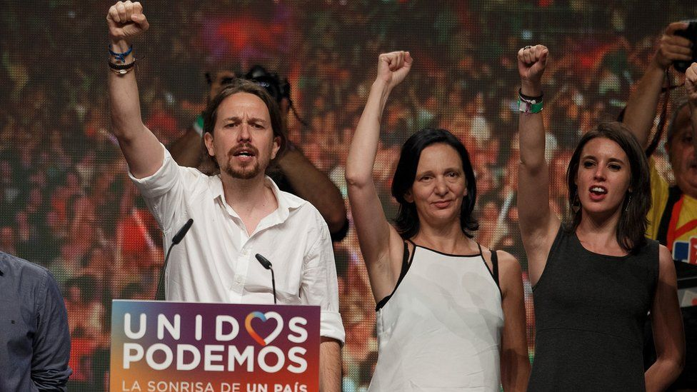 Unidos Podemos leader Pablo Iglesias and other party members attend Madrid rally after elections. 26 June 2016