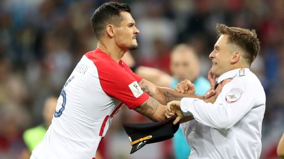 Croatia's Dejan Lovren squared up to Mr Verzilov during the World Cup final pitch invasion