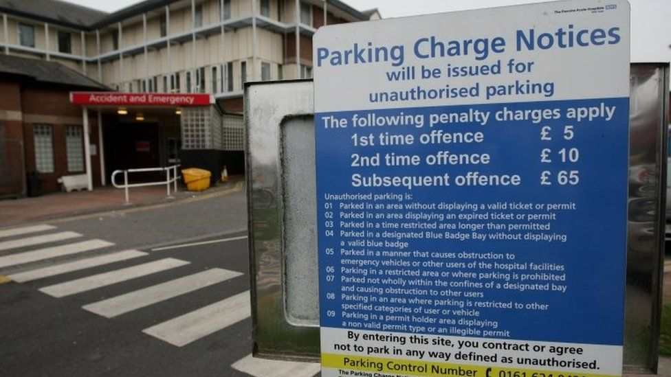 Hospital car park charges sign