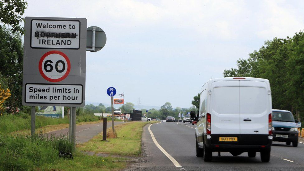 Traffic cross between Northern Ireland and the Irish Republic in County Donegal