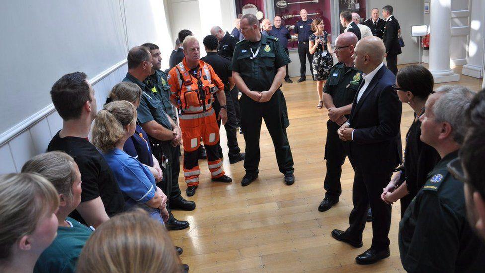 Sajid Javid meets emergency personnel
