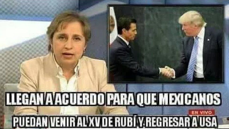 """Screen grab of a tweet showing a news programme reporting on Mexican President Enrique Pena Nieto and Donald Trump shaking hands and a message reading: """"Breaking news: Deal reached so Mexicans can attend Rubi's 15th [birthday party] and return to the US"""""""