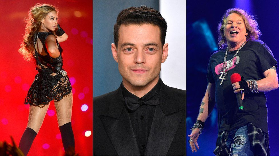 Beyonce, Rami Malek and Axl Rose