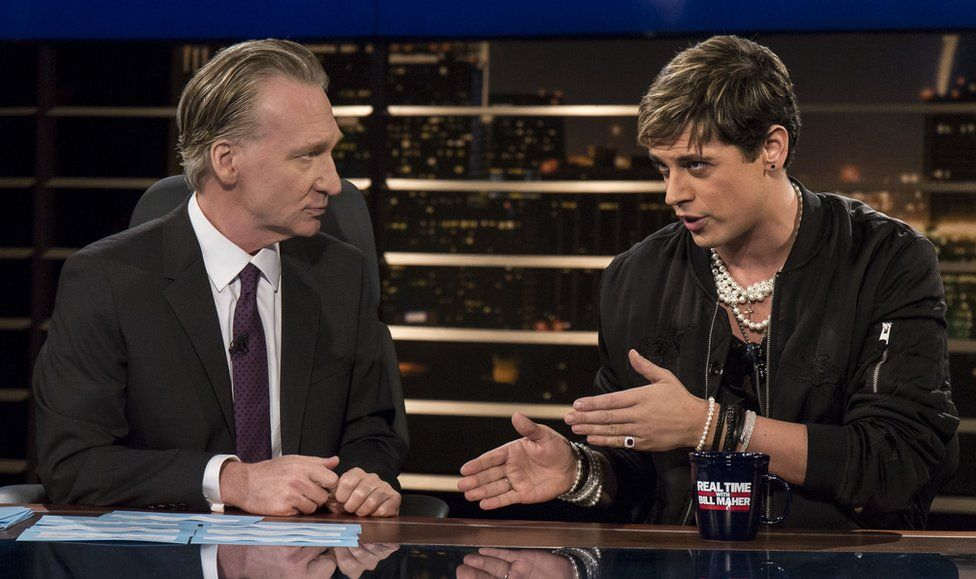 """Bill Maher, left, listens to Milo Yiannopoulos, a writer for Breitbart News, on HBO""""s """"Real Time with Bill Maher"""" on 17 February 2017"""