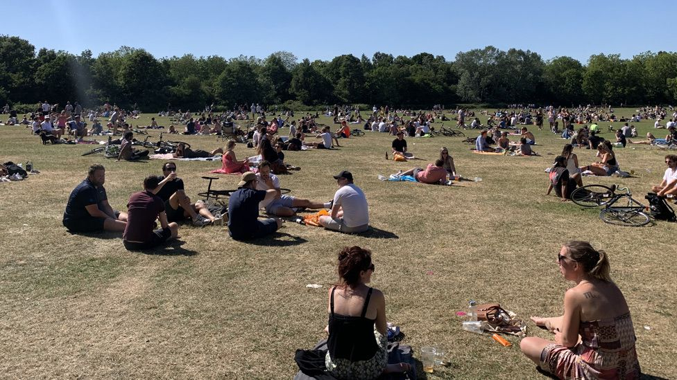 People gathered on London's Wandsworth Common on Saturday