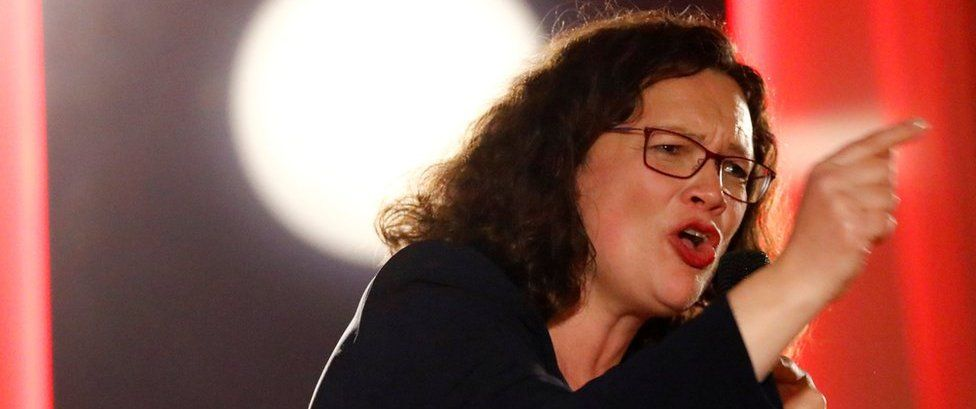 Andrea Nahles, leader of Germany's SPD (file pic)