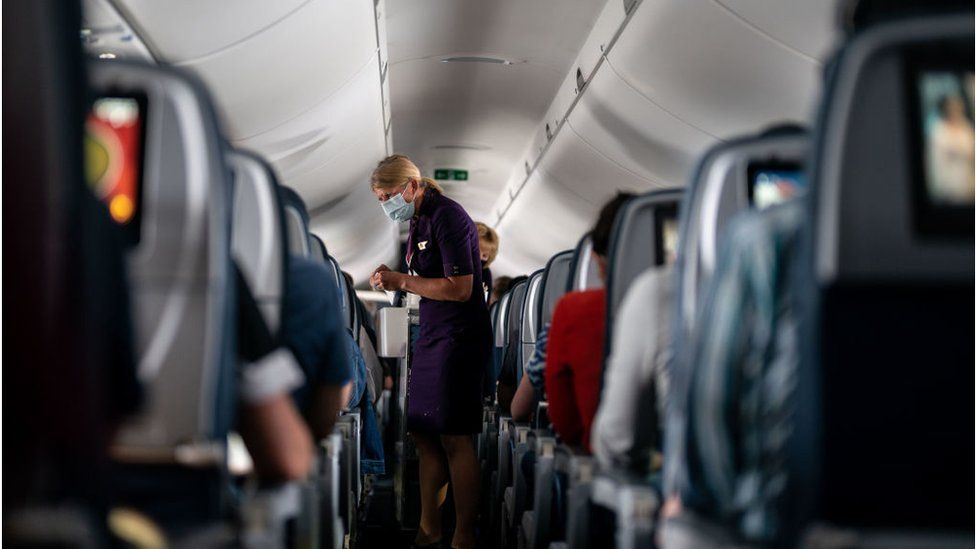 A Delta Airlines air hostess