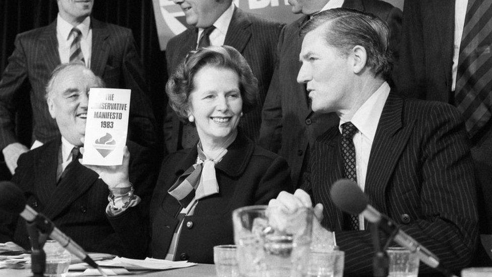 Margaret Thatcher with the 1983 manifesto
