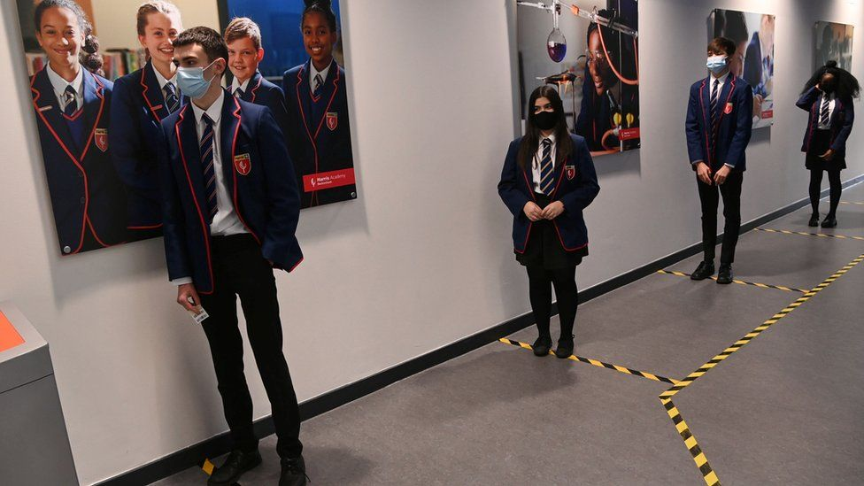 Pupils queuing for Covid tests