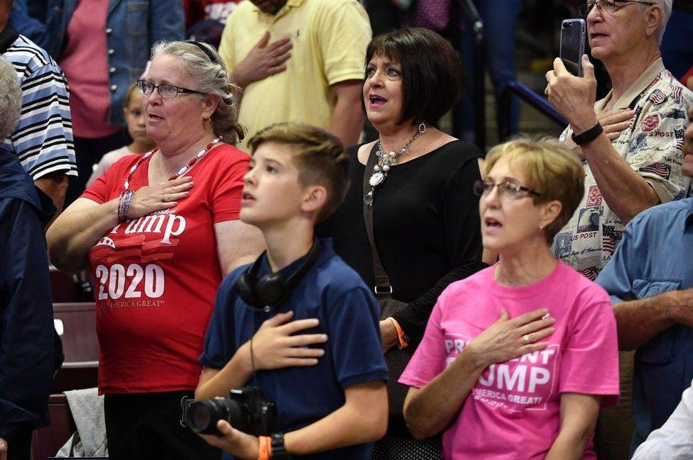 Trump rally-goers recite the pledge