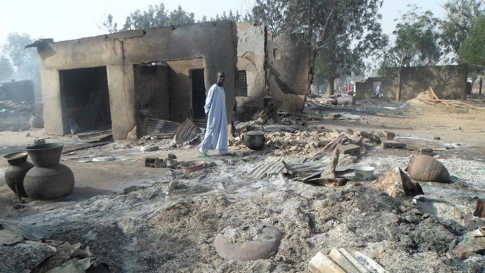 Scene following attack by Boko Haram in Dalori village, Nigeria. 31 Jan 2016