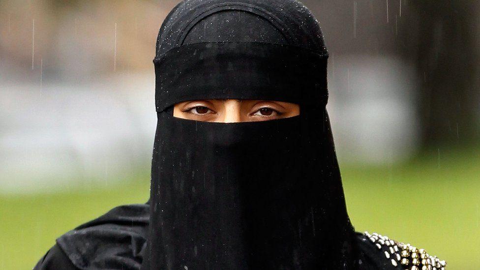 Woman in niqab in England