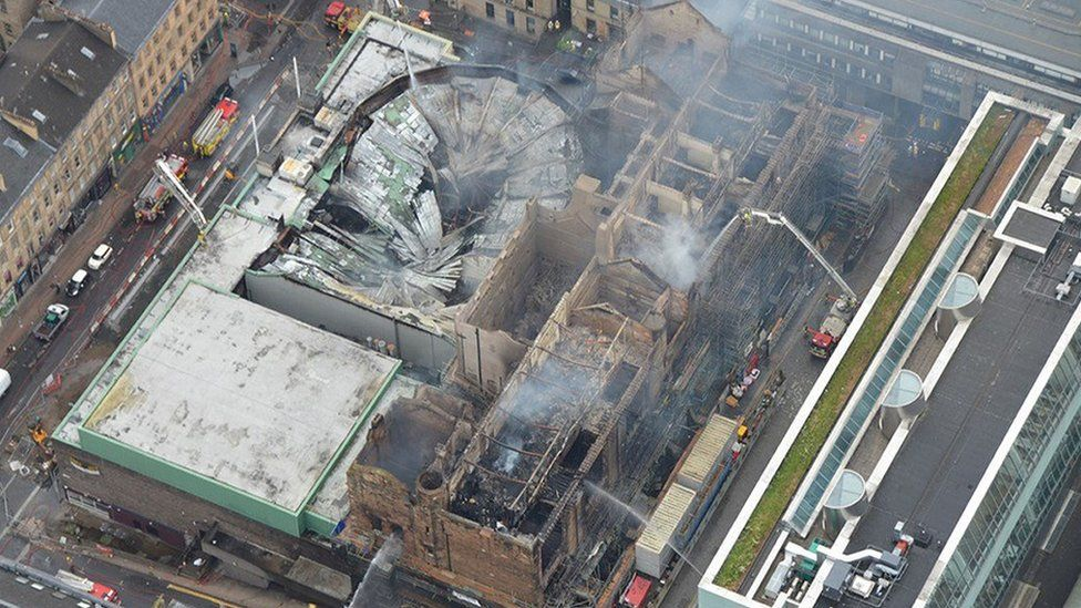 An aerial view of the damage caused by the art school fire