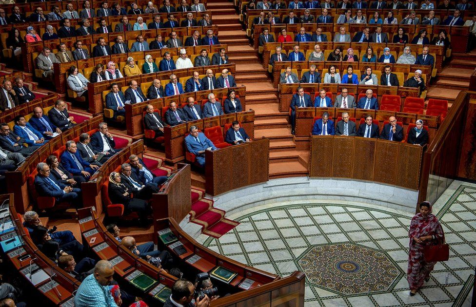 The parliament of Morocco during a joint public meeting in Rabat, on April 19, 2017, / AFP PHOTO