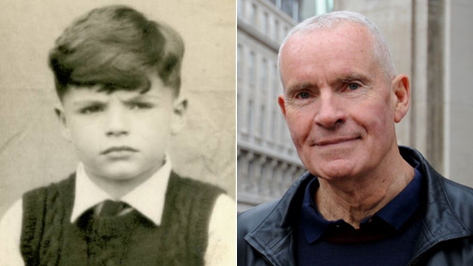 Robin King as a young boy (left) and today (right)