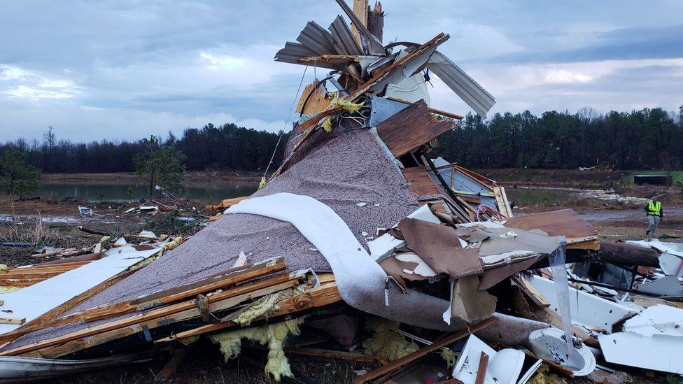 The remains of a destroyed building is seen in Bossier Parish, Louisiana