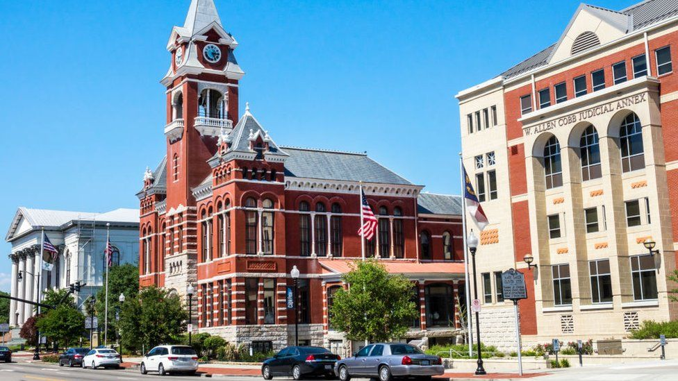 Thalian Hall and the county courthouse in Wilmington, North Carolina
