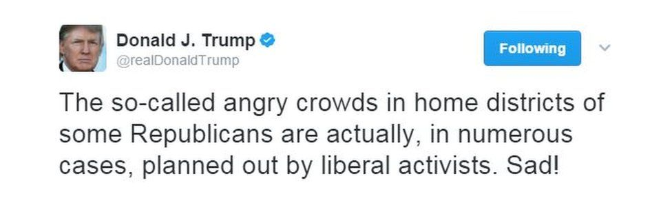 """The so-called angry crowds in home districts of some Republicans are actually, in numerous cases, planned out by liberal activists. Sad!"""