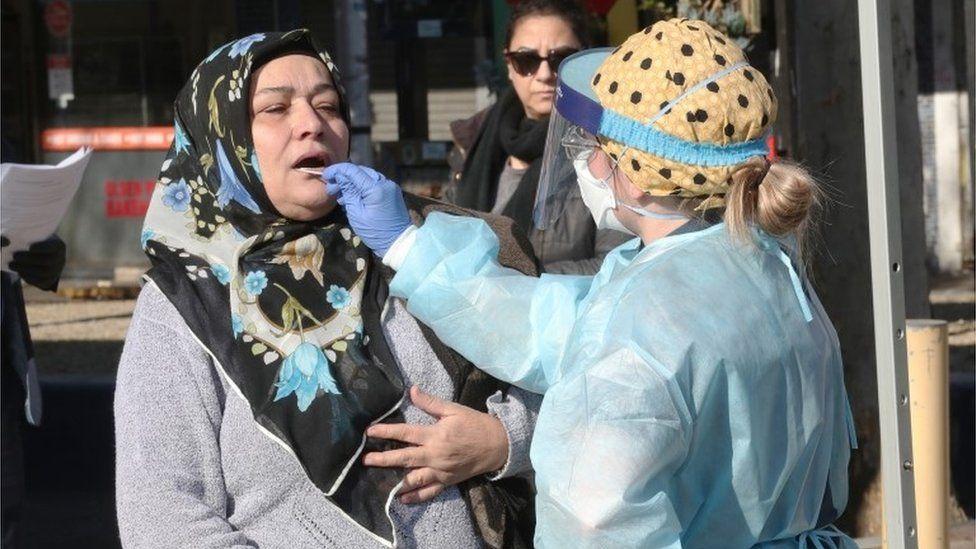 Woman gets tested for coronavirus in Melbourne, Australia (file photo)